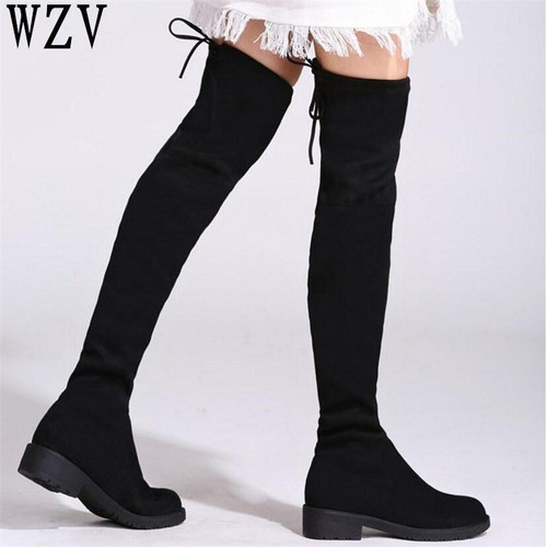 2018 Thigh High Boots Female Winter Boots Women Over the Knee Boots low heel Stretch boots Sexy Fashion Lace-up women shoes E387 - Joelinks store