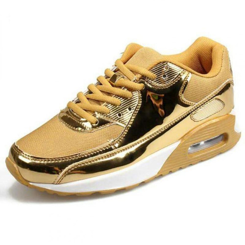 Fashion Pu Leather Women Sneakers Breathable Mesh Women Casual Shoes Flat Shoes Women Vulcanize shoes gold Silver Women Shoes 44 - Joelinks store