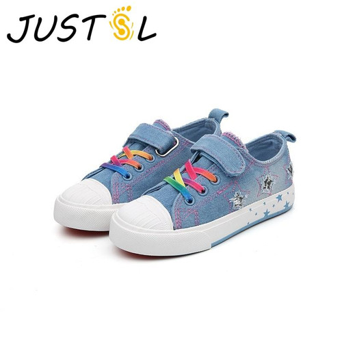 JUSTSL Spring 2018 children's casual shoes denim fashion sneakers teenage boys girls sport shoes size 25-37 - Joelinks store