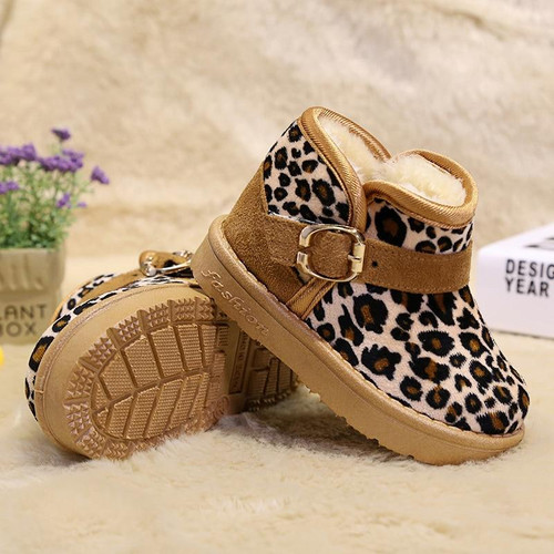 Boots for Boys and Girl's Baby Winter Boots Children Shoes Christmas Classic Leopard Snow Footwear Anti Skid Thermal Kids Shoes Girls Boots - Joelinks store