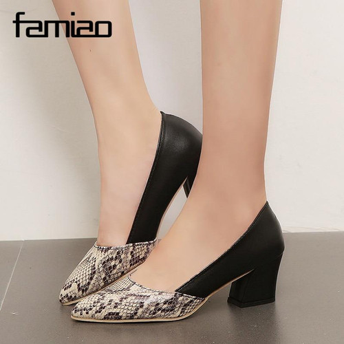 FAMIAO OL pumps Snake skin women shoes  2018 zapatos mujer Women shoes dress fashion square heel slip on ladies - Joelinks store