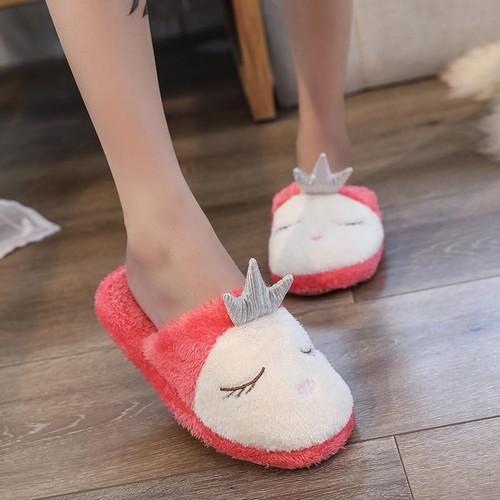 Lovely Women Home Slippers Warm Winter Cute Indoor House Shoes Woman Pink Soft Bottom Bedroom Ladies Flats Slip On Flip Flops - Joelinks store