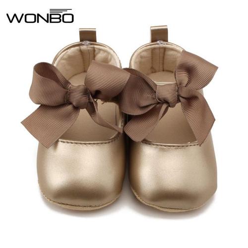 WONBO 0-18M Toddler Baby Girl Soft PU Princess Shoes Bow Bandage Infant Prewalker New Born Baby Shoes, Shoes on sale, Children Shoe, Shoes online, platform shoes for Baby Girl - Joelinks store