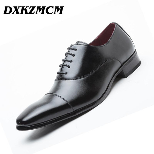 DXKZMCM Handmade Genuine Leather Party Man Brown Dress Shoes Men Oxford Lace Up Wedding Party Man Brown Dress Shoes Brogue Men Formal Shoes - Joelinks store