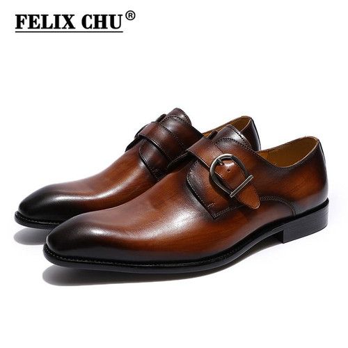 European Style Handmade Genuine Leather  Brown Monk Strap Formal Shoes Office Business Wedding Dress Loafer Shoes Genuine Leather Men - Joelinks store