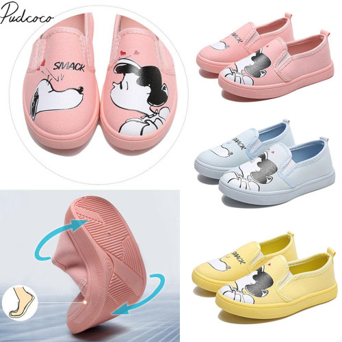 New Toddler Baby Girls Canvas Shoes Flat Shoes 3 Style Cartoon Characters Girls Print Leather Baby Girls Casual Shoes - Joelinks store