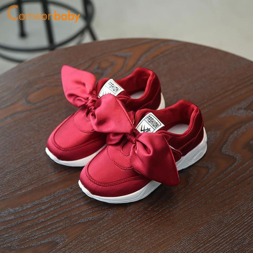 Autumn Summer Baby Shoes Girl Princess Big Bow Soft Soled Flats Anti-Slip Kids Pink Red Green Flats Party Shoes - Joelinks store
