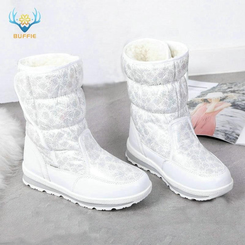 2018 Hot selling Winter Women snow boots Lady warm fake fur shoe female white Buffie brand fashionable boots anti-skid outsole - Joelinks store