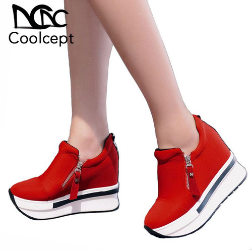 Coolcept Women Spring Shoes Women Fashion Platform Pumps Zip High Heel Sneakers Shallow Casual Women Shoes Size 35-40 - Joelinks store