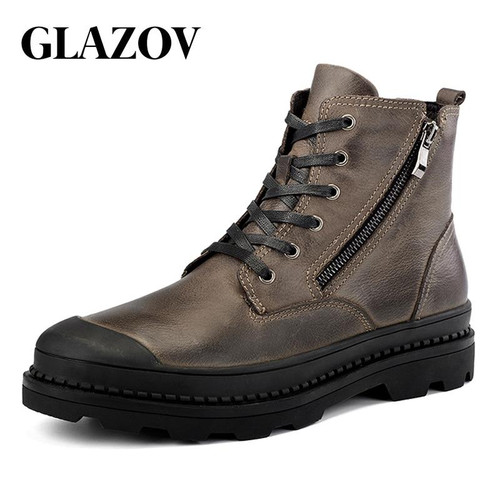 GLAZOV High Quality Genuine leather Autumn Men Boots Winter Waterproof Ankle Boots Martin Boots Outdoor Working Boots Men Shoes - Joelinks store