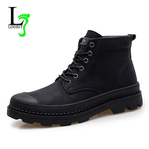 Fashion Men Boots Genuine Leather Winter Fur Waterproof Botas Hombre Casual Shoes Men 2018 Ankle Boots Short Plush Warm Shoes - Joelinks store