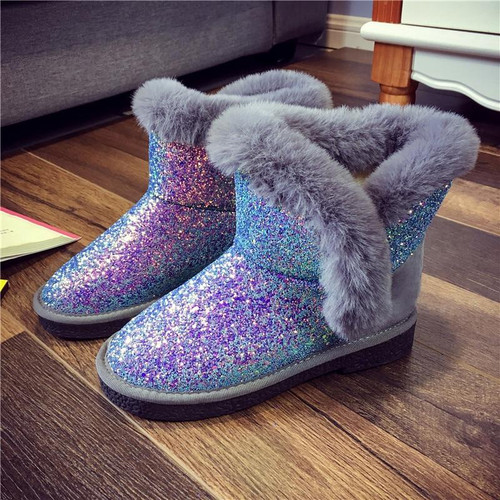 Rimocy Women Fashion Glitter Bling Snow Boots Thick Fur Falt Ankle Boots 2019 Autumn Winter Casual Keep Warm Cotton Shoes Woman - Joelinks store