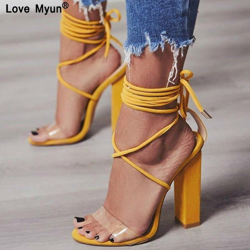 2019 Summer High Heels Sandals PVC Transparent Women Heels Wedding Shoes Women Casual Waterproof Sandalia Feminina88 - Joelinks store
