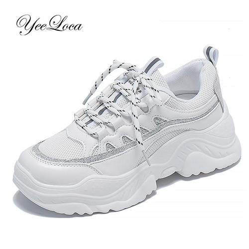 2019 Sneakers Women Height Increase Shoes White Casual Trainers - Joelinks store
