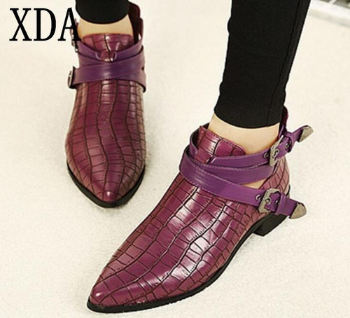 2019 women ankle boots spring autumn buckle pointed toe fashion boots - Joelinks store