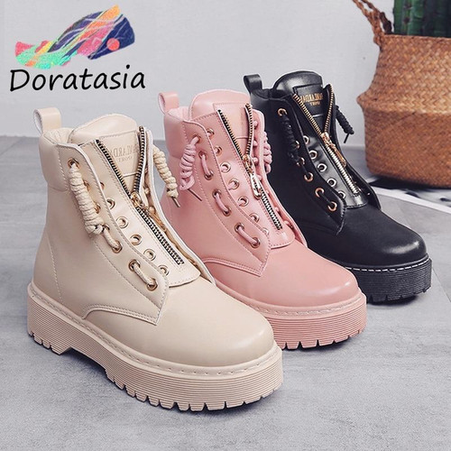 DORATASIA 2019 Autumn Sweet Round Toe Women Platform Ankle Boots Zipper Decoration - Joelinks store