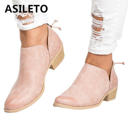 ASILETO 2019 Women Ankle Boots  Chunky Thick Heels booties - Joelinks store