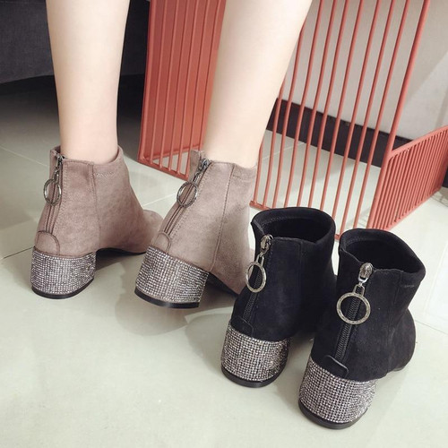 2019 Women Boots Shoes Round Toe Zipper Ankle Boots - Joelinks store
