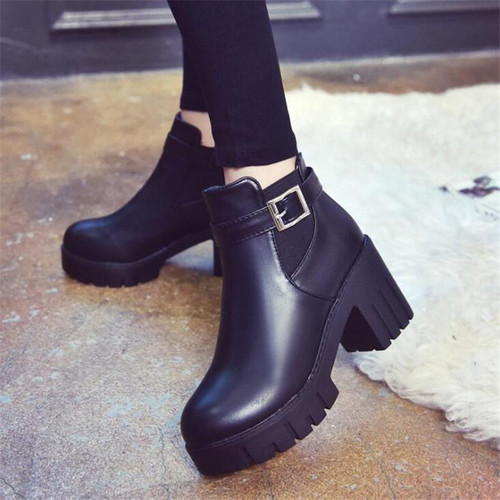 2019 Platform Heels Women Ankle Boots Soft Leather Thick high Heel - Joelinks store