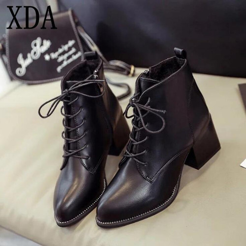 XDA 2019 Fashion Lace-up Women Boots Autumn winter Ankle boots Pointed toe Ladies martin Boots Black PU Leather Women shoes F730 - Joelinks store