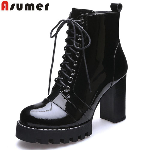2019 fashion austumn winter shoes woman round toe lace up platform thick women high heels genuine leather ankle boots drop ship - Joelinks store
