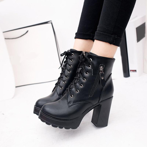 2019 Women Ankle Boots Lace-Up Square Thick Heels PU Zip Martin Boots Ladies Platform Spring Autumn Classic Fashion Shoes Female - Joelinks store