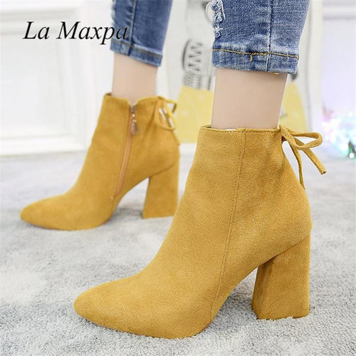 2019 Women Mid Calf Boots Yellow Color Pointed Toe Zippers Autumn Spring Women Martin Boots Casual Lace-up Boots Size 35-39 - Joelinks store