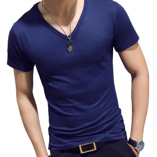 Elastic V Neck Men T Shirt MensCasual Male T-shirt 2019 Brand Clothing Tee Tops 5XL 8J0129 - Joelinks store