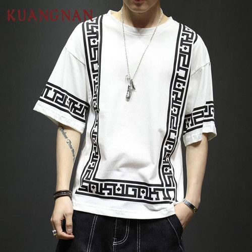 KUANGNAN Streetwear T Shirt Men Fashions 5XL Hip Hop Harajuku White T Shirt Men Clothes Tshirt Men T Shirt Male 2019 - Joelinks store
