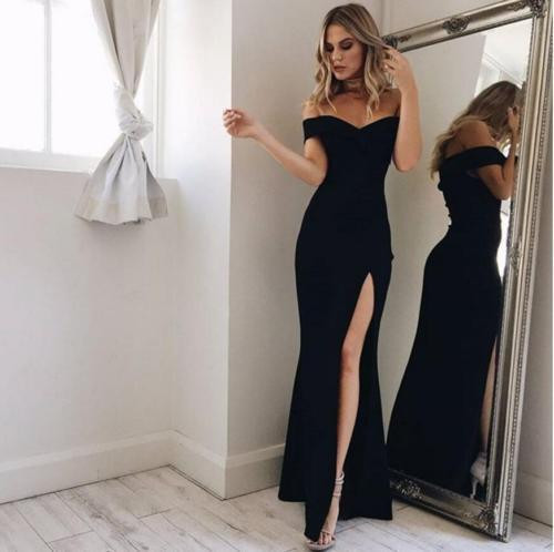Fashion Women's Off Shoulder Casual High Waist Long Maxi Dresses Sexy Skinny Slim Party Evening Beach Long Dress - Joelinks store