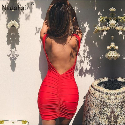 Nadafair V Neck Sleeveless Backless Sexy Bodycon Club Party Dress Women Mini Red White Wrinkled Casual Summer Dress - Joelinks store