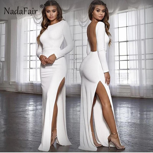 Nadafair backless high split women long sexy club party dress vestidos autumn long sleeve o neck maxi bodycon dress elegant - Joelinks store