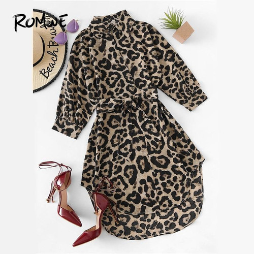 ROMWE Belted Leopard Print Stand Collar Dresses Women Casual Summer New Style Short Sleeve Female A Line Knee Length Sexy Dress - Joelinks store