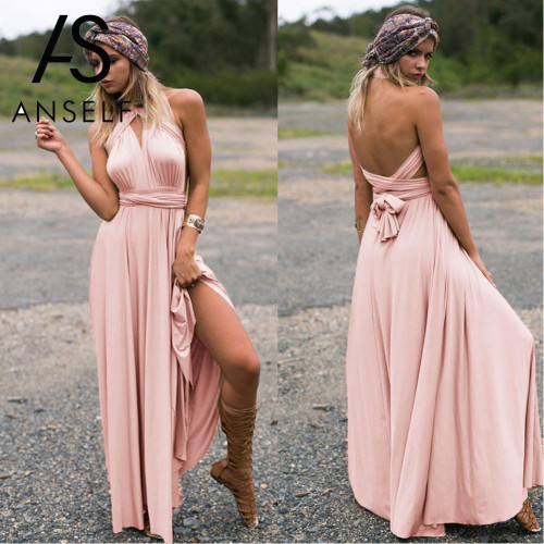 Anself Sexy Long Dress Bridesmaid Formal Multi Way Wrap Convertible Infinity Maxi Dress Pink Hollow Out Party Bandage Vestidos - Joelinks store