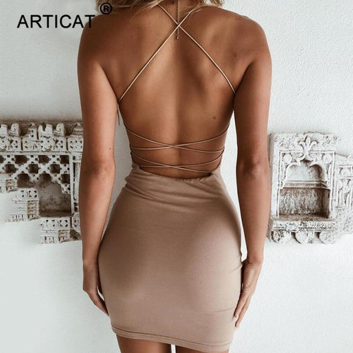 Articat Cross Bandage Backless Sexy Bodycon Dress Women Sleeveless O Neck Summer Beach Dress Black Short Party Casual Mini Dress - Joelinks store
