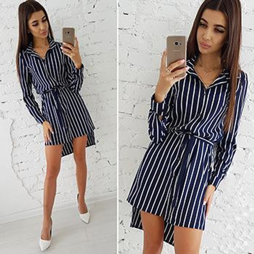 Autumn Fashion Women Striped Print Dress Casual Turn-down Collar Long Sleeve Button Shirt Dresses Vintage Striped Vestidos - Joelinks store