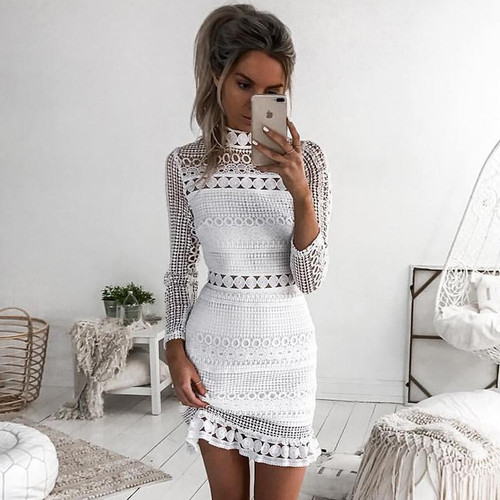 New Vintage hollow out lace dress women Elegant Long sleeve  white dress summer chic party sexy dress vestidos robe - Joelinks store
