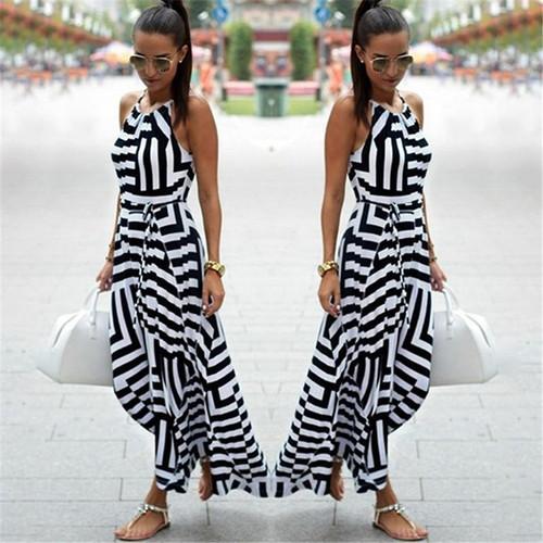 Women Sexy Summer Dress Boho Striped Sleeveless Maxi Long Dress Beach Style Strap Sundress Vestidos for Female NQ987428 - Joelinks store
