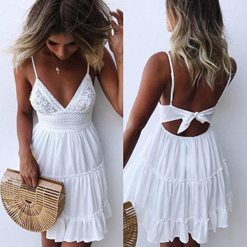 2018 Women Summer Sexy White Lace Backless Spaghetti Strap Dress Casual V-neck Mini Beach Sundress Halter Bow Elegant Dresses - Joelinks store