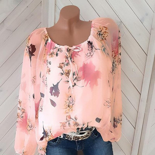 Plus Size Chiffon Shirt Casual Tops  New Full Sleeve O-Neck Print Autumn Winter Blouse Women Fashion Retro Loose Blusas 5XL - Joelinks store