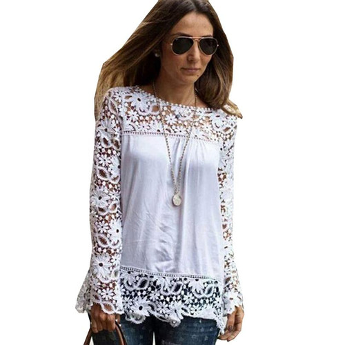 Spring Summer White Blouses Women Shirts Lace Blouse Chiffon Patchwork Loose Shirt - Joelinks store