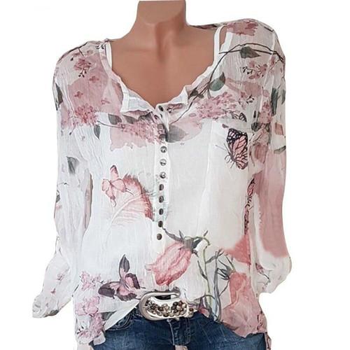Button Women Shirts Autumn Casual V-Neck Chiffon Blouse Women Top Camisa Feminina Long Sleeve Ladies Print Blouse Femme Shirt - Joelinks store