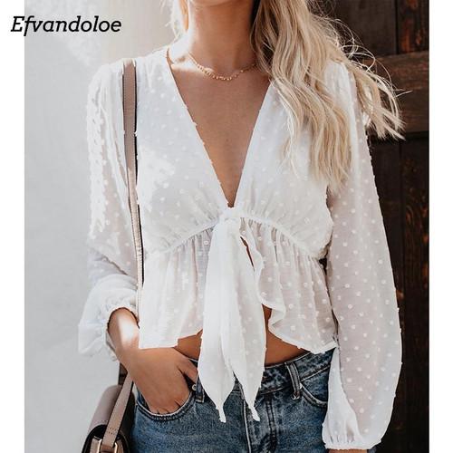Efvandoloe white chiffon blouse women V neck long sleeve shirt tops female korean fashion clothing blusas mujer Summer blouses - Joelinks store