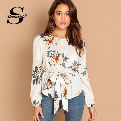 Sheinside Elegant White Blouse Shirt Women Flower Print Belted Long Sleeve Top Womens OL Work 2019 Office Ladies Tops & Blouses - Joelinks store