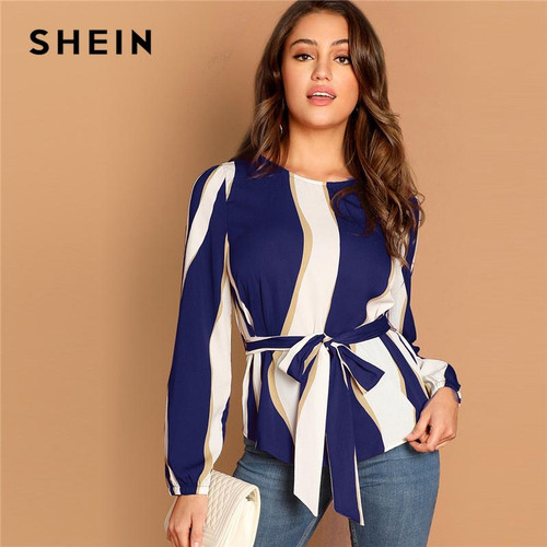 SHEIN Modern Lady Navy Self Belted Striped Scoop Neck Shirt Pullovers Top Women Streetwear Autumn Minimalist Elegant Blouse - Joelinks store