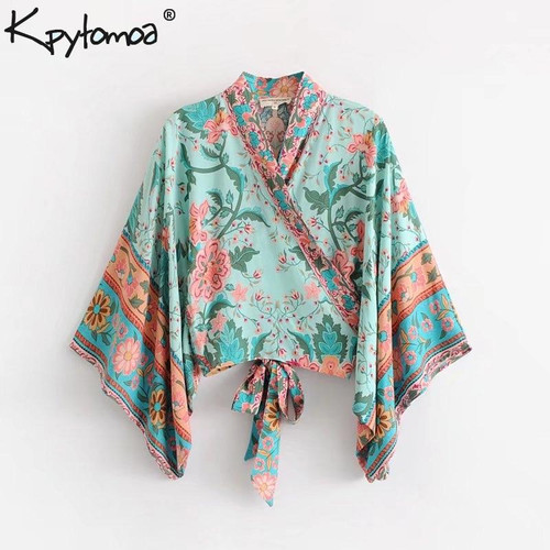 Boho Chic Summer Short Tops Vintage Peacock Floral Print Kimono Women 2019 Fashion Batwing Sleeve Beach Shirt Blouse Blusa Mujer - Joelinks store
