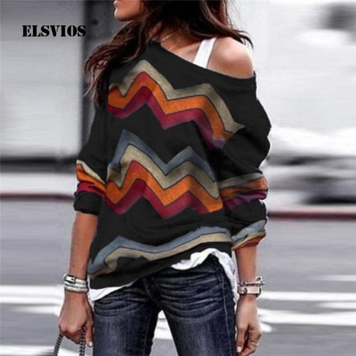 ELSVIOS  Sexy off shoulder Women print blouse shirt Elegant Autumn long sleeve Knitted Pullover Blusas 21 colors style Jumper - Joelinks store