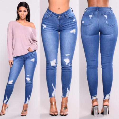 Light Blue Skinny Ripped Jeans For Female Women Mid Waist Bleash Wash Casual Denim Jeans 2018 Slim Fit Pants Femme - Joelinks store