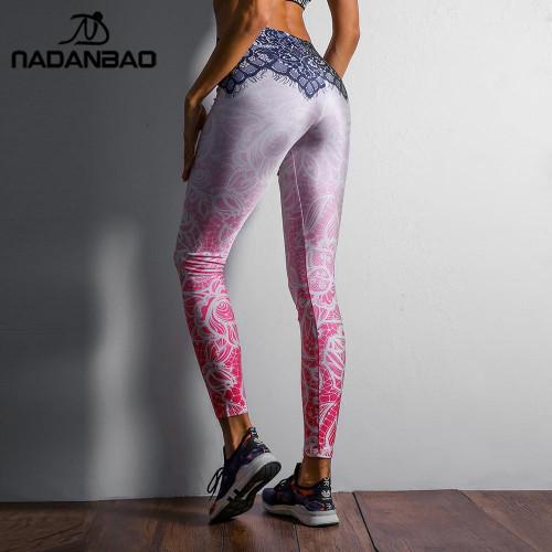 NADANBAO 2019 Women Leggings Mandala Flower Digital Print Slim Pink Fitness Woman Leggins Workout Plus Size High Waist Pants - Joelinks store