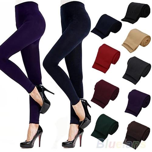 Solid Color Women's Stretch Thicken Leggings Warm Skinny Pants Footless - Joelinks store